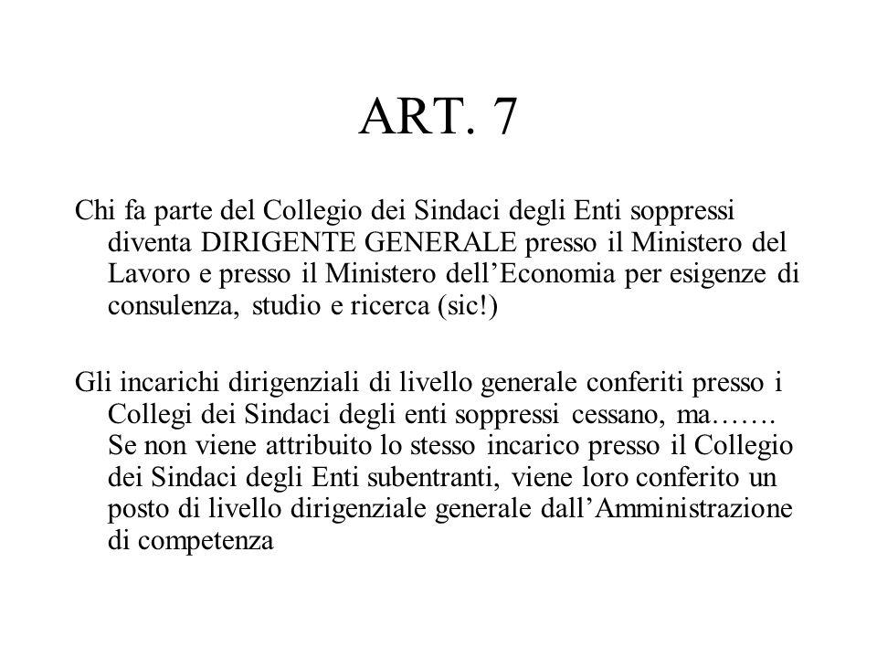 ART. 7 Chi fa parte del Collegio dei Sindaci degli Enti soppressi diventa DIRIGENTE GENERALE presso il Ministero del Lavoro e presso il Ministero dell