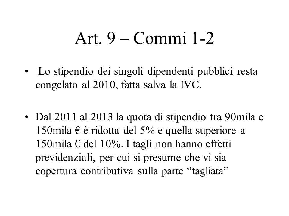 Art. 9 – Commi 1-2 Lo stipendio dei singoli dipendenti pubblici resta congelato al 2010, fatta salva la IVC. Dal 2011 al 2013 la quota di stipendio tr