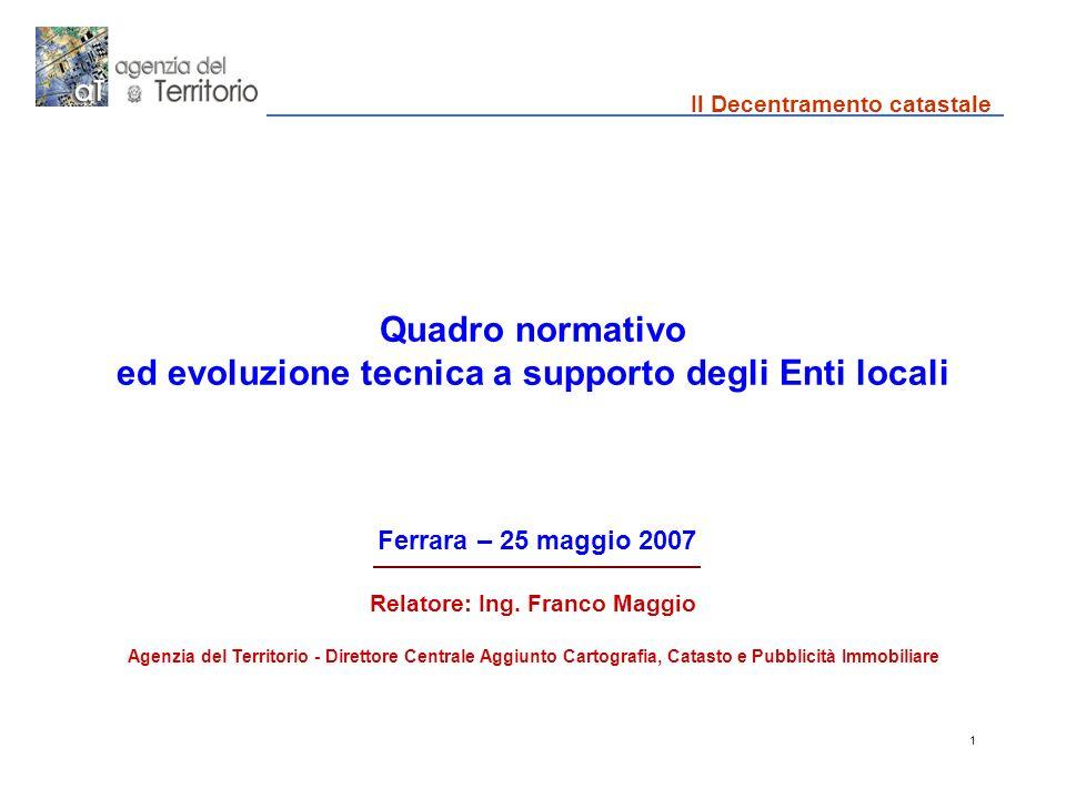 1 Quadro normativo ed evoluzione tecnica a supporto degli Enti locali Ferrara – 25 maggio 2007 Relatore: Ing.