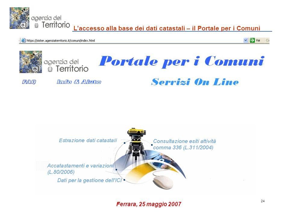 24 Laccesso alla base dei dati catastali – il Portale per i Comuni Ferrara, 25 maggio 2007