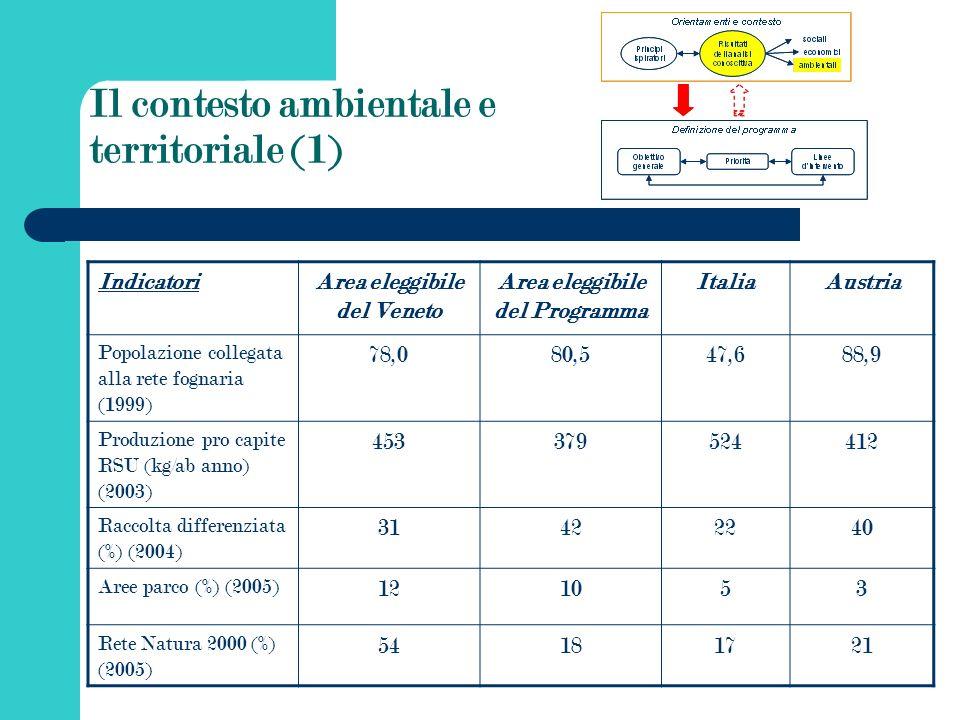 Il contesto ambientale e territoriale (1) IndicatoriArea eleggibile del Veneto Area eleggibile del Programma ItaliaAustria Popolazione collegata alla rete fognaria (1999) 78,080,547,688,9 Produzione pro capite RSU (kg/ab anno) (2003) 453379524412 Raccolta differenziata (%) (2004) 31422240 Aree parco (%) (2005) 121053 Rete Natura 2000 (%) (2005) 54181721