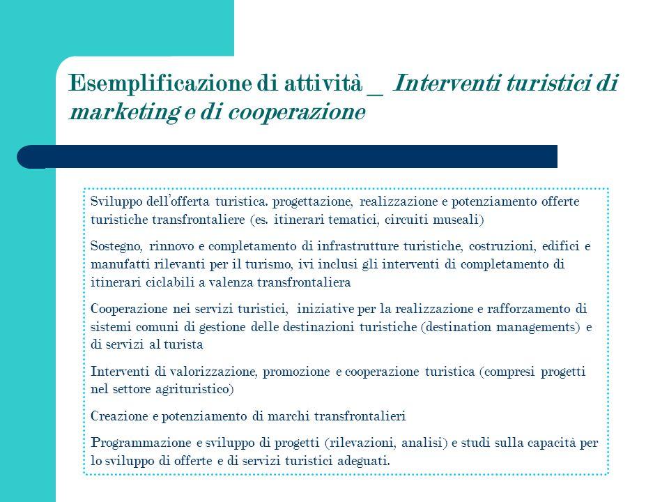 Esemplificazione di attività _ Interventi turistici di marketing e di cooperazione Sviluppo dellofferta turistica.