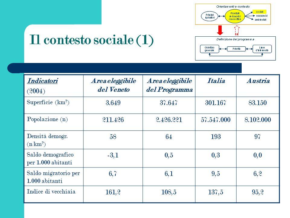 Il contesto sociale (1) Indicatori (2004) Area eleggibile del Veneto Area eleggibile del Programma ItaliaAustria Superficie (km 2 ) 3.64937.647301.16783.150 Popolazione (n) 211.4262.426.22157.547.0008.102.000 Densità demogr.