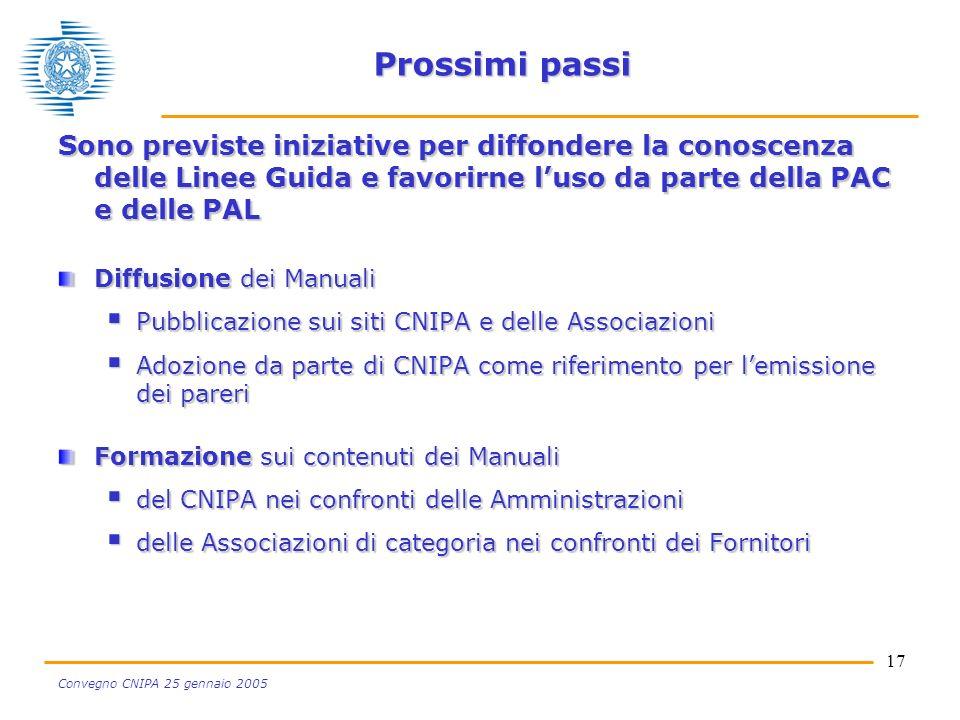 17 Convegno CNIPA 25 gennaio 2005 Prossimi passi Sono previste iniziative per diffondere la conoscenza delle Linee Guida e favorirne luso da parte della PAC e delle PAL Diffusione dei Manuali Pubblicazione sui siti CNIPA e delle Associazioni Pubblicazione sui siti CNIPA e delle Associazioni Adozione da parte di CNIPA come riferimento per lemissione dei pareri Adozione da parte di CNIPA come riferimento per lemissione dei pareri Formazione sui contenuti dei Manuali del CNIPA nei confronti delle Amministrazioni del CNIPA nei confronti delle Amministrazioni delle Associazioni di categoria nei confronti dei Fornitori delle Associazioni di categoria nei confronti dei Fornitori