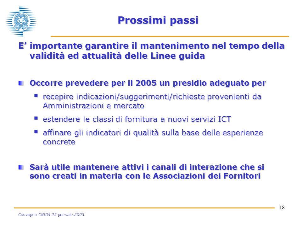 18 Convegno CNIPA 25 gennaio 2005 Prossimi passi E importante garantire il mantenimento nel tempo della validità ed attualità delle Linee guida Occorr