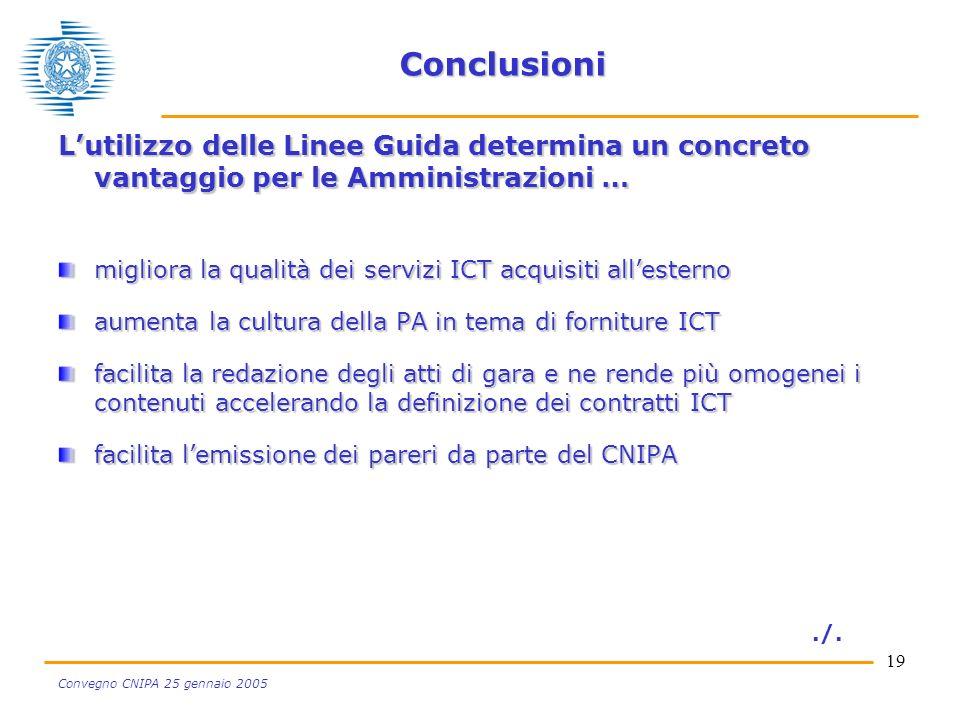 19 Convegno CNIPA 25 gennaio 2005 Conclusioni Lutilizzo delle Linee Guida determina un concreto vantaggio per le Amministrazioni … migliora la qualità