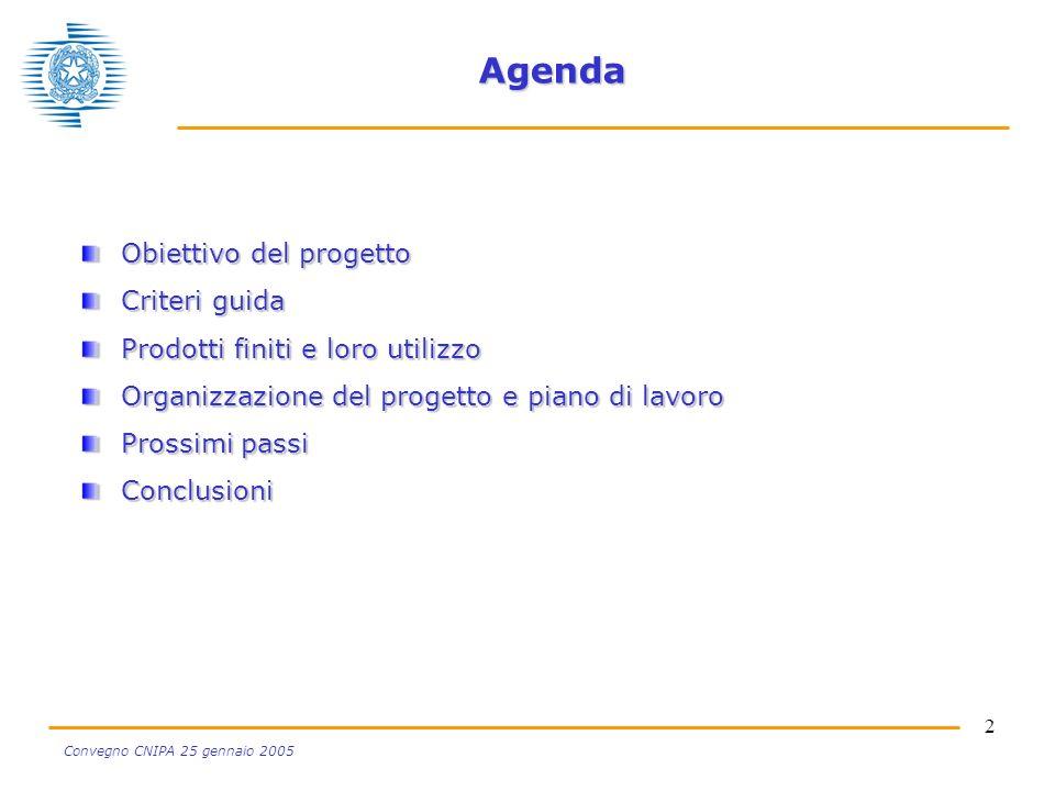 2 Convegno CNIPA 25 gennaio 2005 Agenda Obiettivo del progetto Criteri guida Prodotti finiti e loro utilizzo Organizzazione del progetto e piano di lavoro Prossimi passi Conclusioni