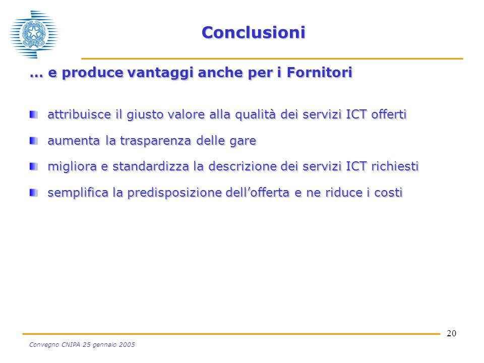 20 Convegno CNIPA 25 gennaio 2005 Conclusioni … e produce vantaggi anche per i Fornitori attribuisce il giusto valore alla qualità dei servizi ICT offerti aumenta la trasparenza delle gare migliora e standardizza la descrizione dei servizi ICT richiesti semplifica la predisposizione dellofferta e ne riduce i costi