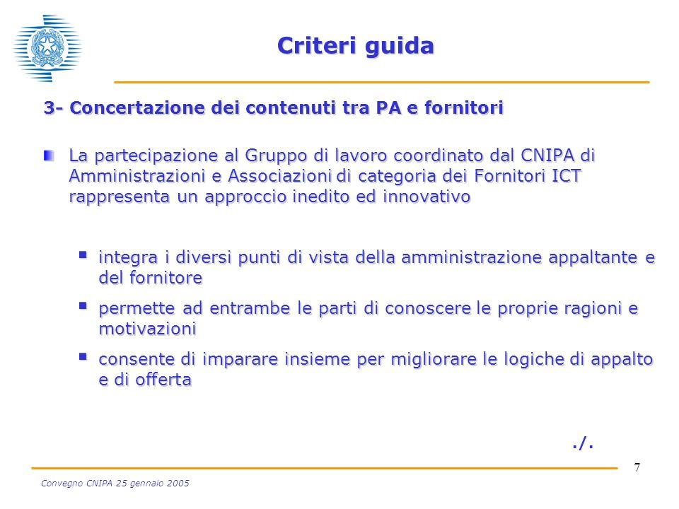 7 Convegno CNIPA 25 gennaio 2005 Criteri guida 3- Concertazione dei contenuti tra PA e fornitori La partecipazione al Gruppo di lavoro coordinato dal