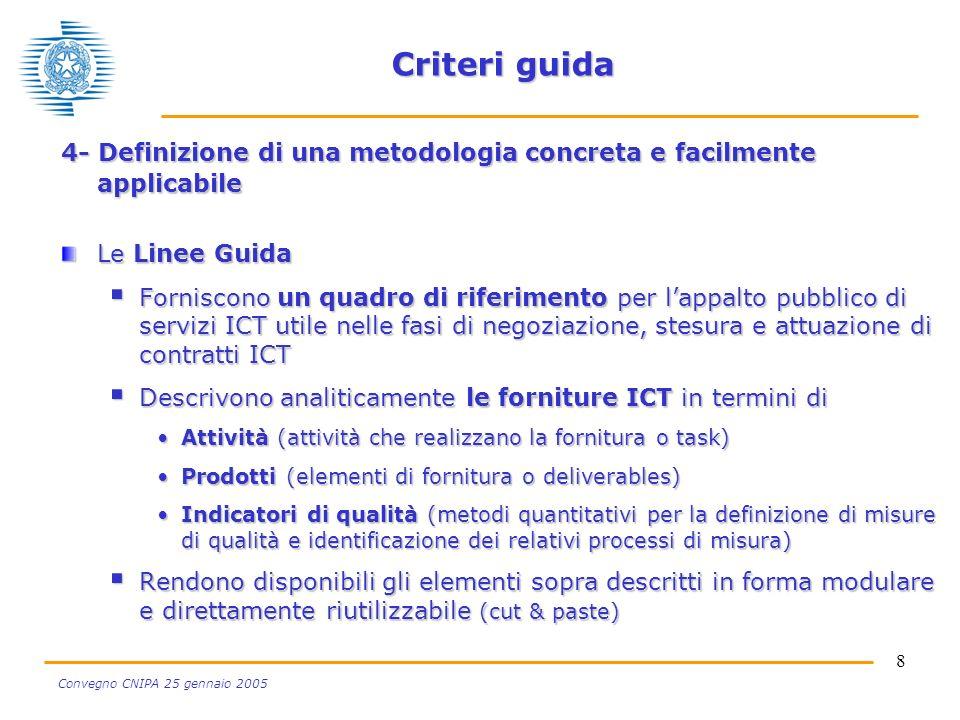 8 Convegno CNIPA 25 gennaio 2005 Criteri guida 4- Definizione di una metodologia concreta e facilmente applicabile Le Linee Guida Forniscono un quadro di riferimento per lappalto pubblico di servizi ICT utile nelle fasi di negoziazione, stesura e attuazione di contratti ICT Forniscono un quadro di riferimento per lappalto pubblico di servizi ICT utile nelle fasi di negoziazione, stesura e attuazione di contratti ICT Descrivono analiticamente le forniture ICT in termini di Descrivono analiticamente le forniture ICT in termini di Attività (attività che realizzano la fornitura o task)Attività (attività che realizzano la fornitura o task) Prodotti (elementi di fornitura o deliverables)Prodotti (elementi di fornitura o deliverables) Indicatori di qualità (metodi quantitativi per la definizione di misure di qualità e identificazione dei relativi processi di misura)Indicatori di qualità (metodi quantitativi per la definizione di misure di qualità e identificazione dei relativi processi di misura) Rendono disponibili gli elementi sopra descritti in forma modulare e direttamente riutilizzabile (cut & paste) Rendono disponibili gli elementi sopra descritti in forma modulare e direttamente riutilizzabile (cut & paste)