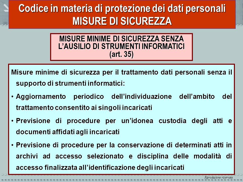 Riproduzione riservata Codice in materia di protezione dei dati personali MISURE DI SICUREZZA MISURE MINIME DI SICUREZZA SENZA LAUSILIO DI STRUMENTI I