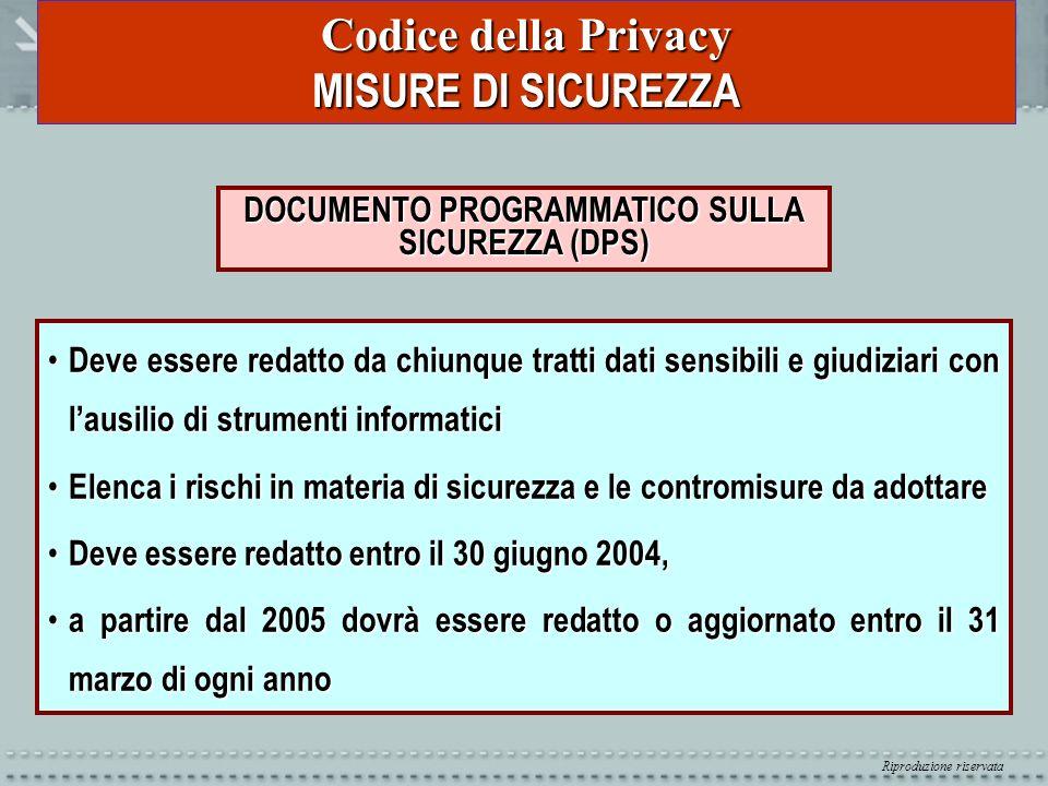 Riproduzione riservata Codice della Privacy MISURE DI SICUREZZA DOCUMENTO PROGRAMMATICO SULLA SICUREZZA (DPS) Deve essere redatto da chiunque tratti d