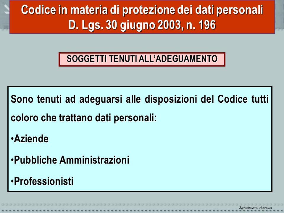 Riproduzione riservata Codice in materia di protezione dei dati personali D. Lgs. 30 giugno 2003, n. 196 SOGGETTI TENUTI ALLADEGUAMENTO Sono tenuti ad