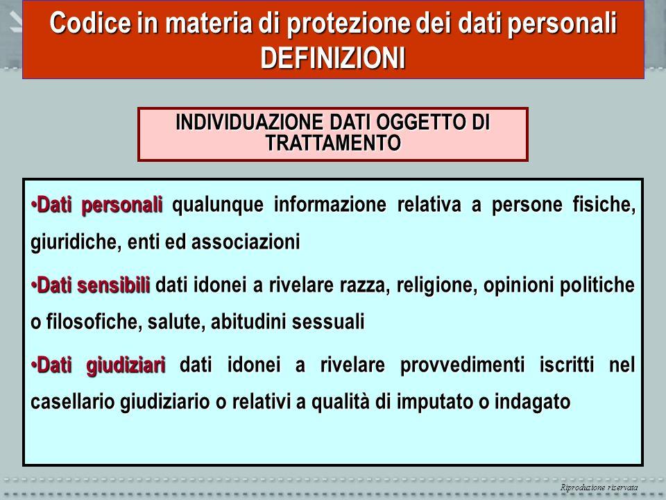 Riproduzione riservata Codice in materia di protezione dei dati personali DEFINIZIONI INDIVIDUAZIONE DATI OGGETTO DI TRATTAMENTO Dati personali qualun