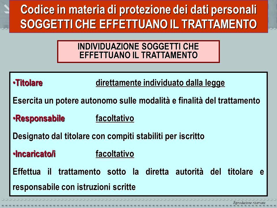 Riproduzione riservata Codice in materia di protezione dei dati personali REGOLE PER TUTTI I TRATTAMENTI INFORMATIVA E CONSENSO (artt.