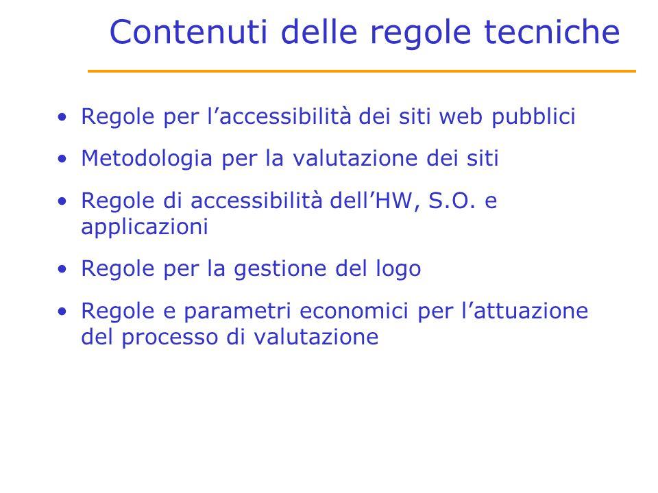 Contenuti delle regole tecniche Regole per laccessibilità dei siti web pubblici Metodologia per la valutazione dei siti Regole di accessibilità dellHW, S.O.
