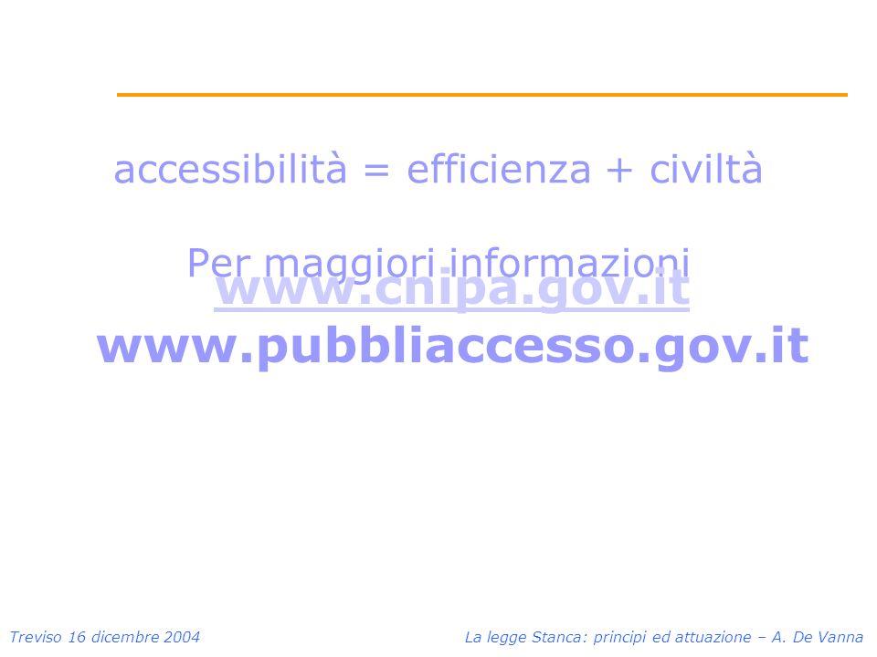 accessibilità = efficienza + civiltà Per maggiori informazioni www.cnipa.gov.it www.pubbliaccesso.gov.it Treviso 16 dicembre 2004 La legge Stanca: principi ed attuazione – A.