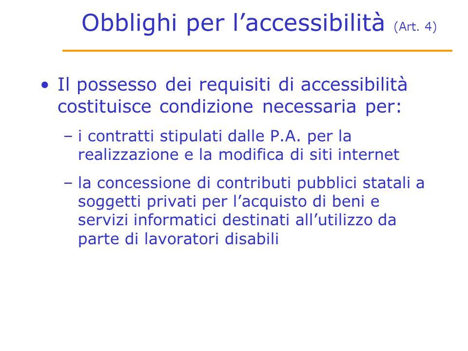 Obblighi per laccessibilità (Art.