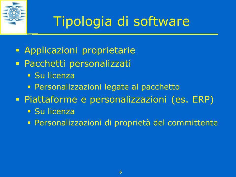 6 Tipologia di software Applicazioni proprietarie Pacchetti personalizzati Su licenza Personalizzazioni legate al pacchetto Piattaforme e personalizza