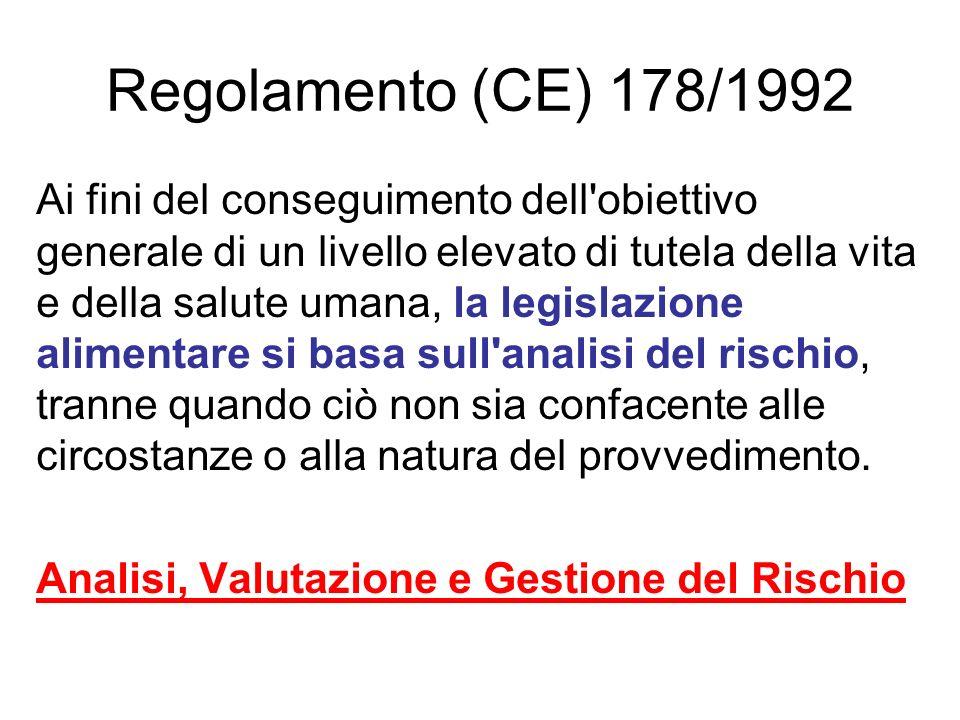Regolamento (CE) 178/1992 Ai fini del conseguimento dell'obiettivo generale di un livello elevato di tutela della vita e della salute umana, la legisl
