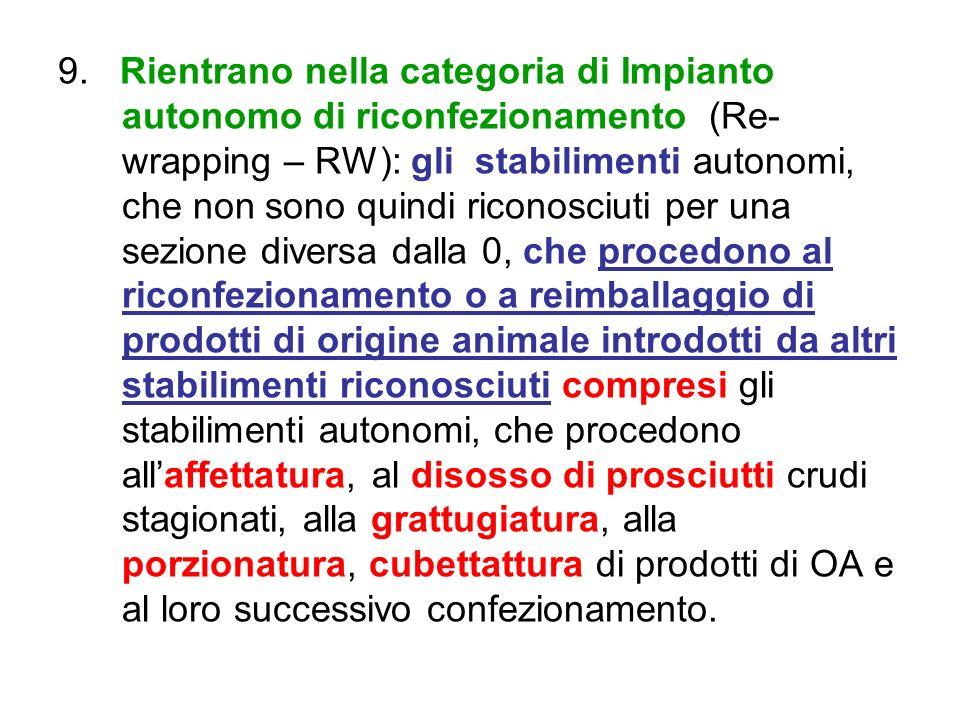 9. Rientrano nella categoria di Impianto autonomo di riconfezionamento (Re- wrapping – RW): gli stabilimenti autonomi, che non sono quindi riconosciut