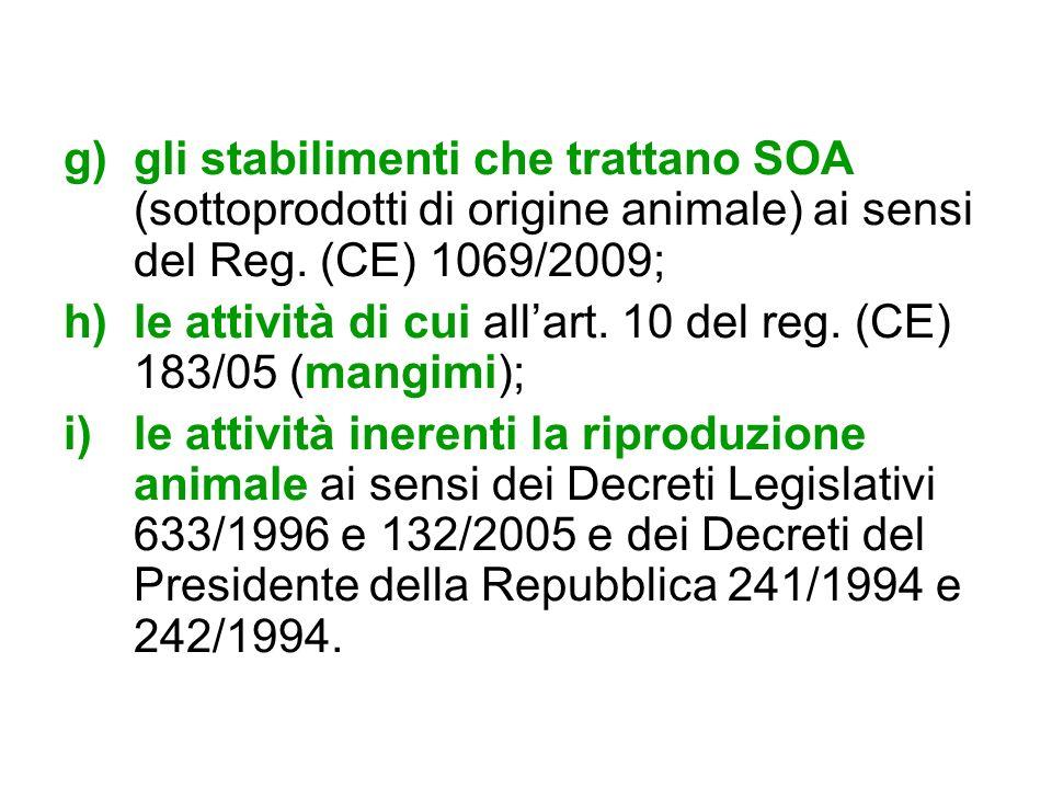 g)gli stabilimenti che trattano SOA (sottoprodotti di origine animale) ai sensi del Reg. (CE) 1069/2009; h)le attività di cui allart. 10 del reg. (CE)