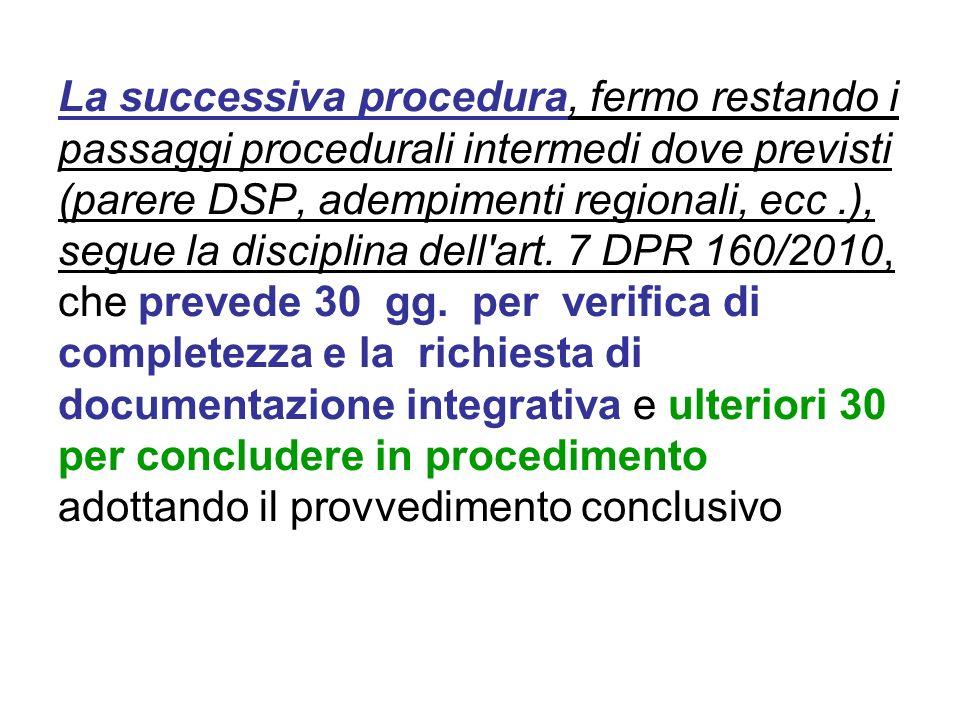 La successiva procedura, fermo restando i passaggi procedurali intermedi dove previsti (parere DSP, adempimenti regionali, ecc.), segue la disciplina