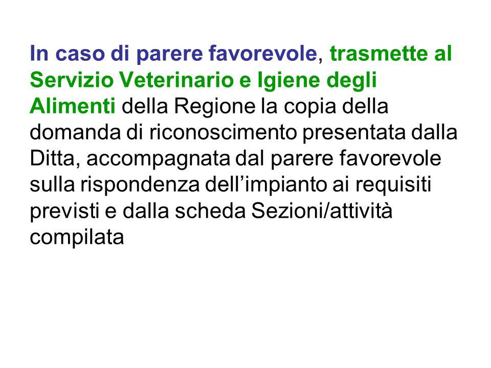 In caso di parere favorevole, trasmette al Servizio Veterinario e Igiene degli Alimenti della Regione la copia della domanda di riconoscimento present