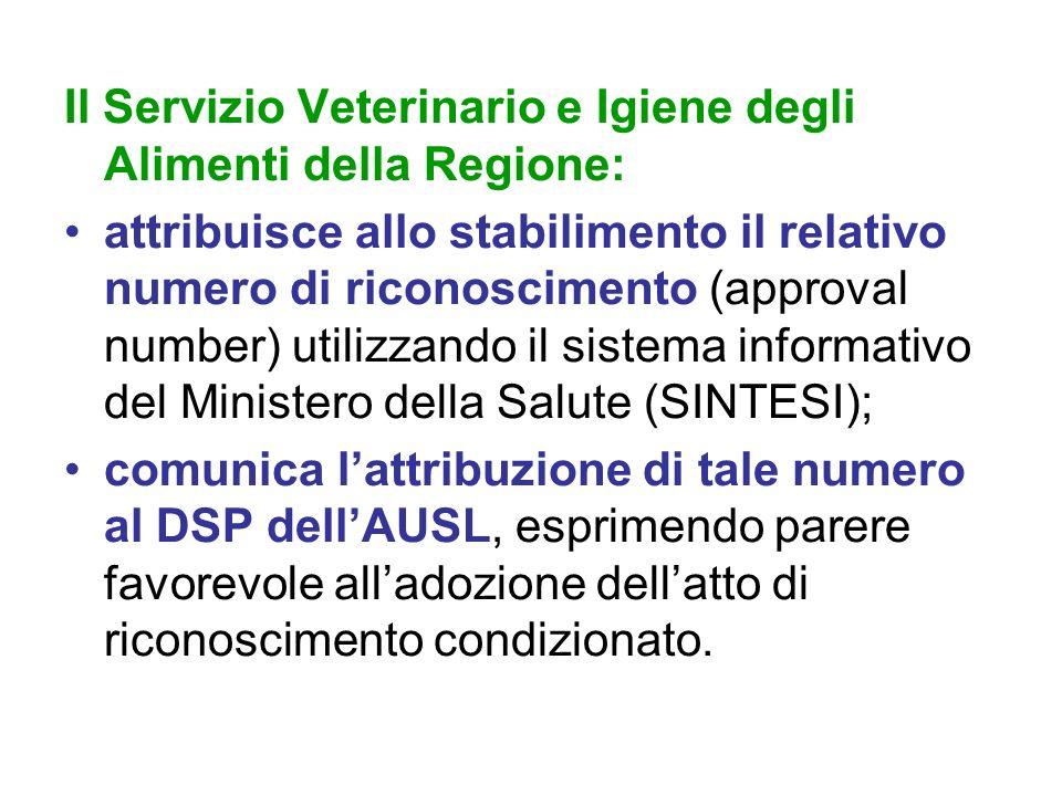 Il Servizio Veterinario e Igiene degli Alimenti della Regione: attribuisce allo stabilimento il relativo numero di riconoscimento (approval number) ut