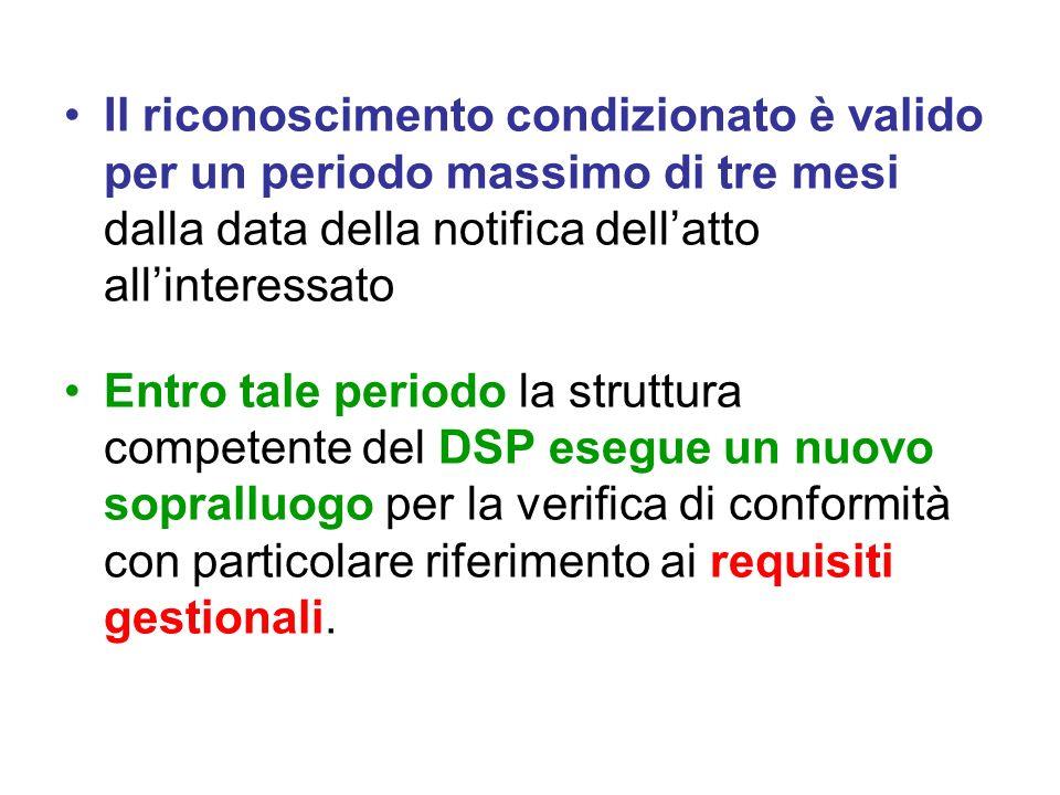 Il riconoscimento condizionato è valido per un periodo massimo di tre mesi dalla data della notifica dellatto allinteressato Entro tale periodo la str