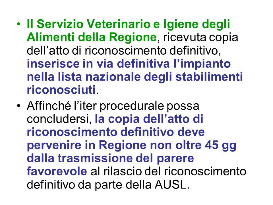 Il Servizio Veterinario e Igiene degli Alimenti della Regione, ricevuta copia dellatto di riconoscimento definitivo, inserisce in via definitiva limpi