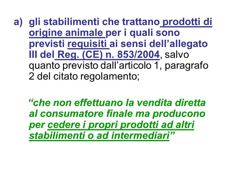 a)gli stabilimenti che trattano prodotti di origine animale per i quali sono previsti requisiti ai sensi dellallegato III del Reg. (CE) n. 853/2004, s