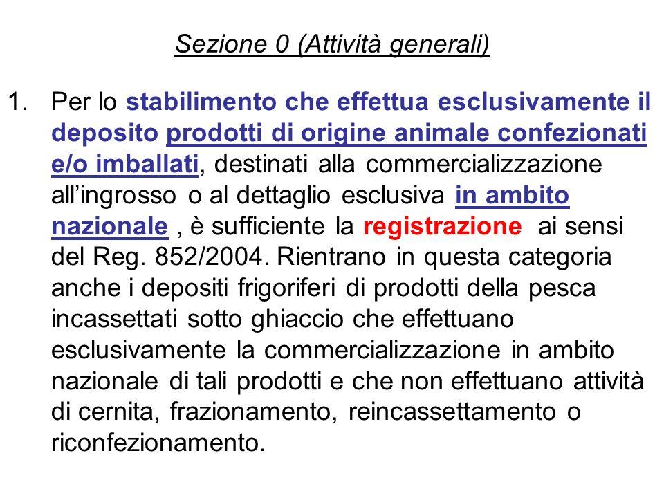Sezione 0 (Attività generali) 1.Per lo stabilimento che effettua esclusivamente il deposito prodotti di origine animale confezionati e/o imballati, de