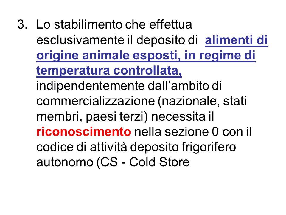 3.Lo stabilimento che effettua esclusivamente il deposito di alimenti di origine animale esposti, in regime di temperatura controllata, indipendenteme