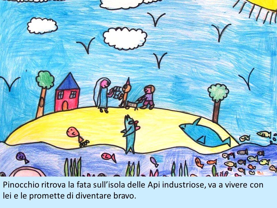 Pinocchio vola con il colombo per andare a cercare Geppetto, arriva al mare e vede il falegname su una barchetta che affonda, così si tuffa in mare pe