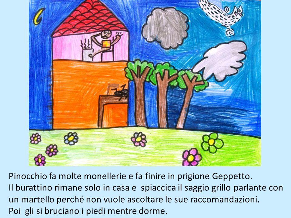 Mastro Ciliegia regala un pezzo di legno al povero falegname Geppetto, lui ci costruisce un burattino e lo chiama Pinocchio.