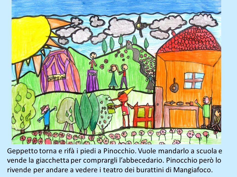 Pinocchio fa molte monellerie e fa finire in prigione Geppetto. Il burattino rimane solo in casa e spiaccica il saggio grillo parlante con un martello