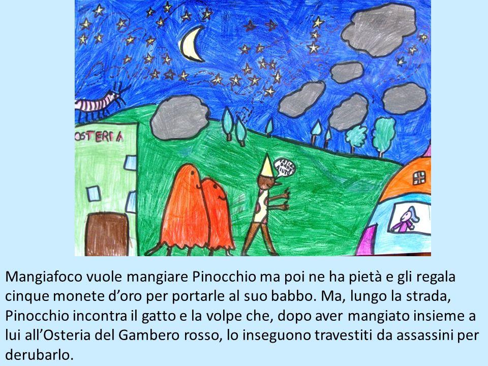 Geppetto torna e rifà i piedi a Pinocchio. Vuole mandarlo a scuola e vende la giacchetta per comprargli labbecedario. Pinocchio però lo rivende per an