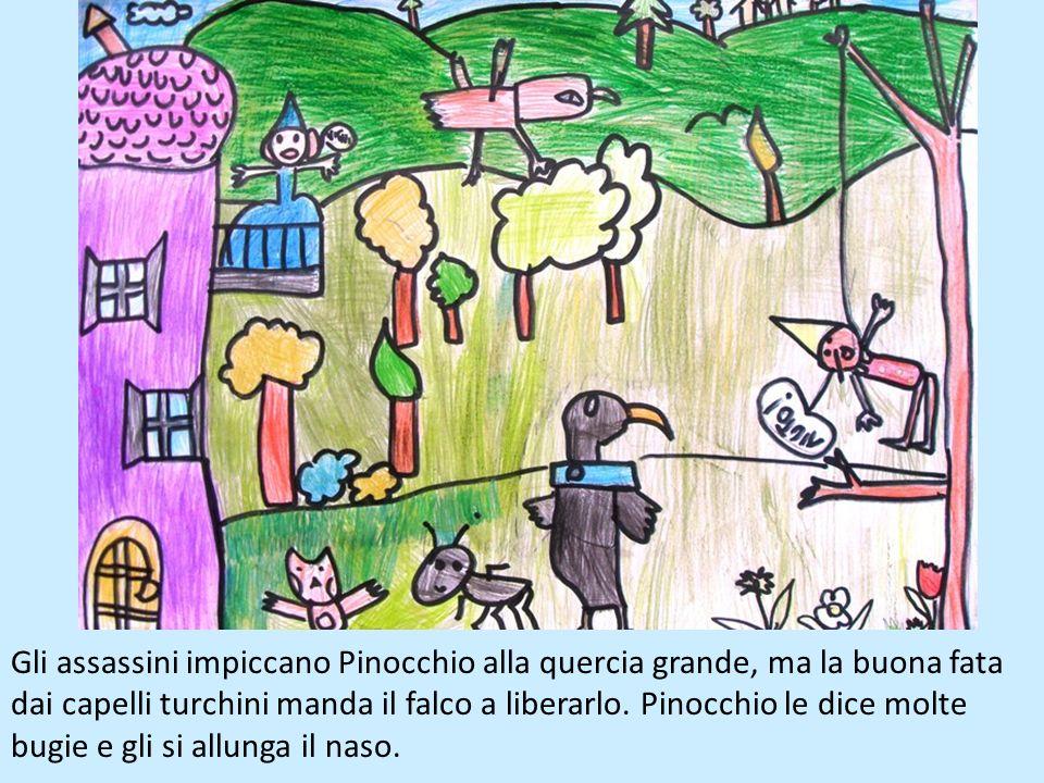 Mangiafoco vuole mangiare Pinocchio ma poi ne ha pietà e gli regala cinque monete doro per portarle al suo babbo. Ma, lungo la strada, Pinocchio incon