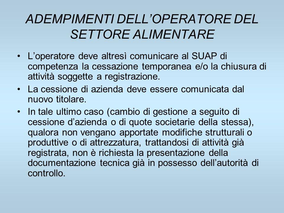 ADEMPIMENTI DELLOPERATORE DEL SETTORE ALIMENTARE Loperatore deve altresì comunicare al SUAP di competenza la cessazione temporanea e/o la chiusura di
