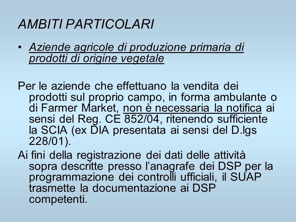 AMBITI PARTICOLARI Aziende agricole di produzione primaria di prodotti di origine vegetale Per le aziende che effettuano la vendita dei prodotti sul p