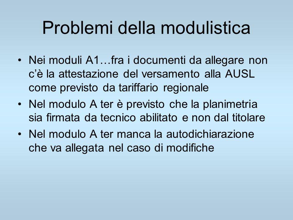 Problemi della modulistica Nei moduli A1…fra i documenti da allegare non cè la attestazione del versamento alla AUSL come previsto da tariffario regio