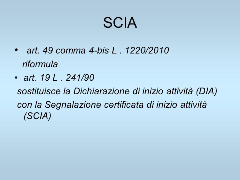 SCIA art. 49 comma 4-bis L. 1220/2010 riformula art. 19 L. 241/90 sostituisce la Dichiarazione di inizio attività (DIA) con la Segnalazione certificat