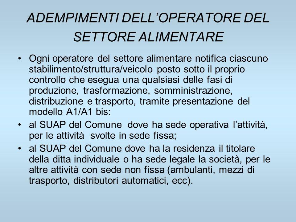 ADEMPIMENTI DELLOPERATORE DEL SETTORE ALIMENTARE Ogni operatore del settore alimentare notifica ciascuno stabilimento/struttura/veicolo posto sotto il