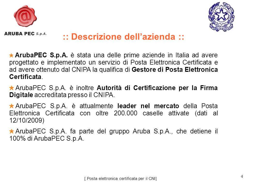 4 ArubaPEC S.p.A. è stata una delle prime aziende in Italia ad avere progettato e implementato un servizio di Posta Elettronica Certificata e ad avere