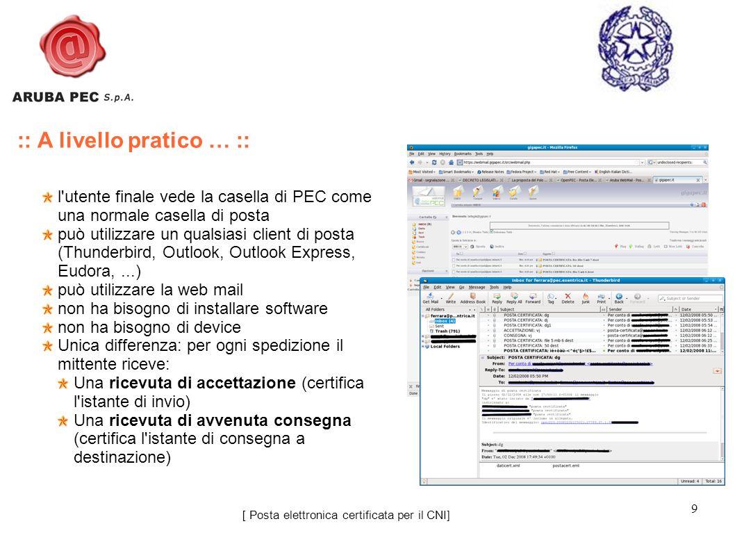 9 l'utente finale vede la casella di PEC come una normale casella di posta può utilizzare un qualsiasi client di posta (Thunderbird, Outlook, Outlook
