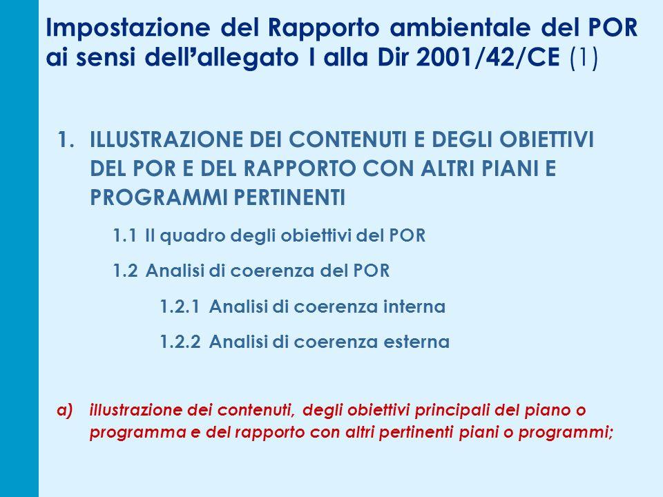 Impostazione del Rapporto ambientale del POR ai sensi dell allegato I alla Dir 2001/42/CE (1) 1. ILLUSTRAZIONE DEI CONTENUTI E DEGLI OBIETTIVI DEL POR