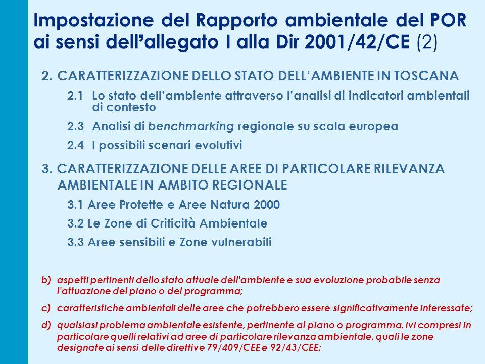 Impostazione del Rapporto ambientale del POR ai sensi dell allegato I alla Dir 2001/42/CE (2) 2.CARATTERIZZAZIONE DELLO STATO DELLAMBIENTE IN TOSCANA 2.1Lo stato dellambiente attraverso lanalisi di indicatori ambientali di contesto 2.3Analisi di benchmarking regionale su scala europea 2.4I possibili scenari evolutivi 3.