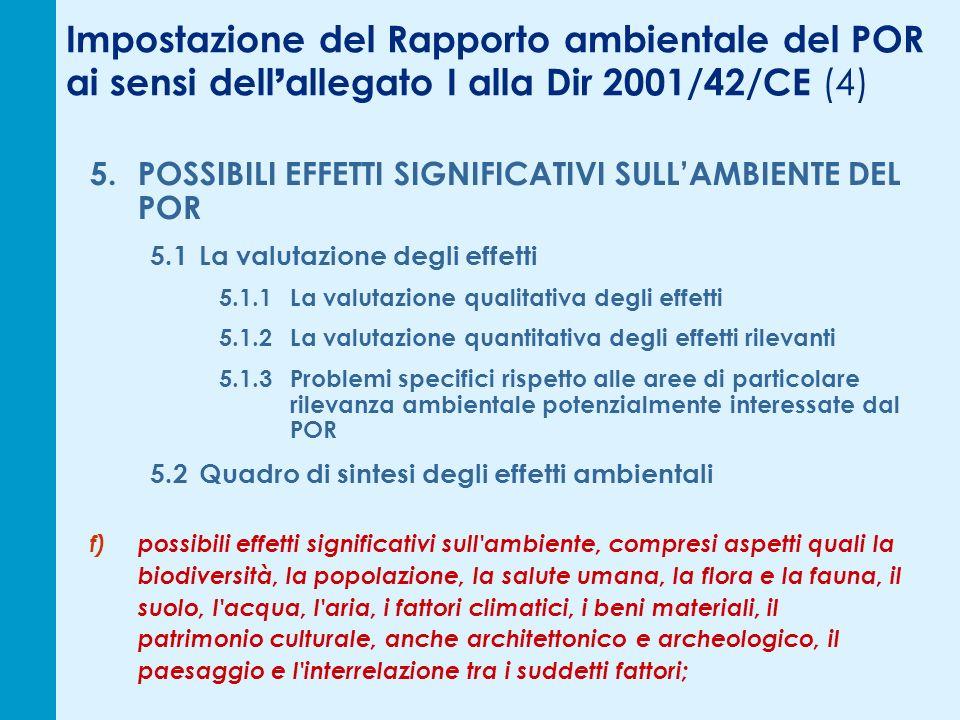 Impostazione del Rapporto ambientale del POR ai sensi dell allegato I alla Dir 2001/42/CE (4) 5.POSSIBILI EFFETTI SIGNIFICATIVI SULLAMBIENTE DEL POR 5.1La valutazione degli effetti 5.1.1La valutazione qualitativa degli effetti 5.1.2La valutazione quantitativa degli effetti rilevanti 5.1.3Problemi specifici rispetto alle aree di particolare rilevanza ambientale potenzialmente interessate dal POR 5.2Quadro di sintesi degli effetti ambientali f)possibili effetti significativi sull ambiente, compresi aspetti quali la biodiversità, la popolazione, la salute umana, la flora e la fauna, il suolo, l acqua, l aria, i fattori climatici, i beni materiali, il patrimonio culturale, anche architettonico e archeologico, il paesaggio e l interrelazione tra i suddetti fattori;