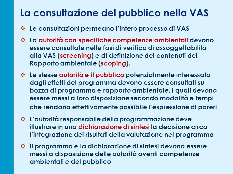 La consultazione del pubblico nella VAS Le consultazioni permeano lintero processo di VAS La autorità con specifiche competenze ambientali devono essere consultate nelle fasi di verifica di assoggettabilità alla VAS (screening) e di definizione dei contenuti del Rapporto ambientale (scoping).